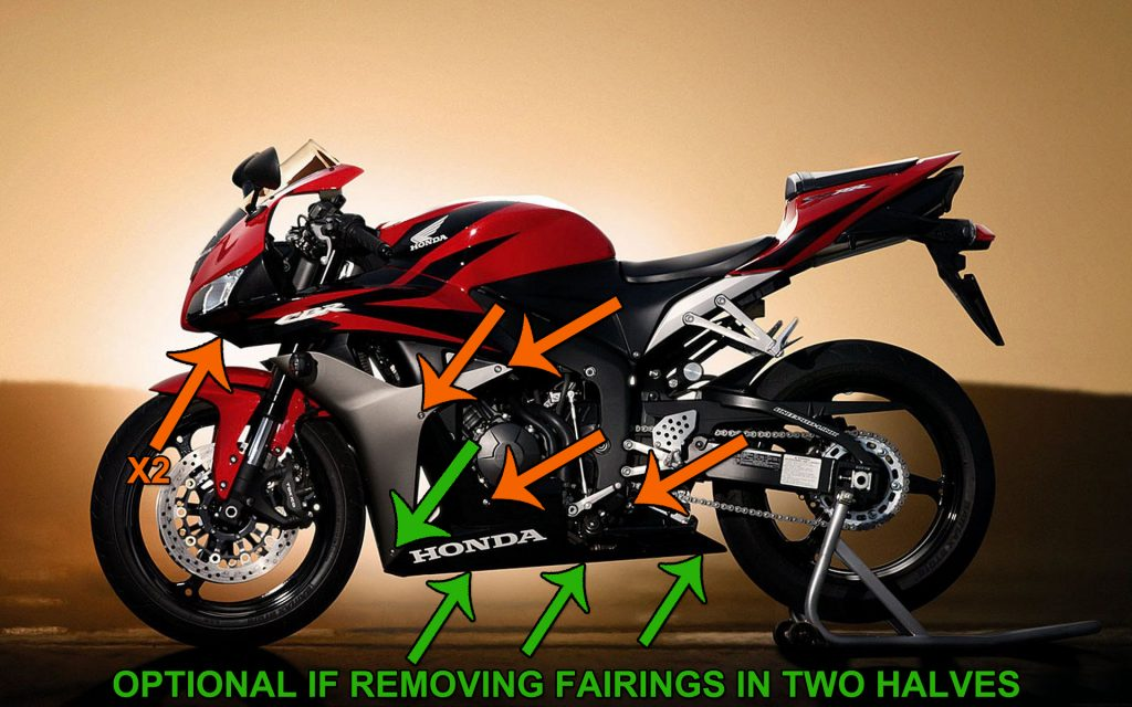 2008, 2009, 2010, 2011, 2012 Honda CBR 600 RR Fairing bolt Locations