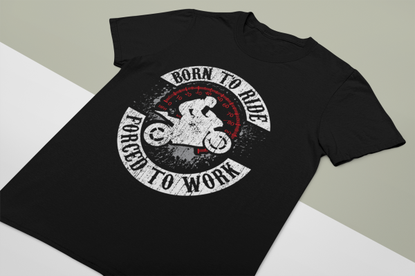 """""""Born To Ride, Forced To Work"""" Unisex Softstyle T-Shirt 2"""